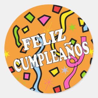 Feliz cumpleaños de Feliz Cumpleanos en español Etiqueta Redonda