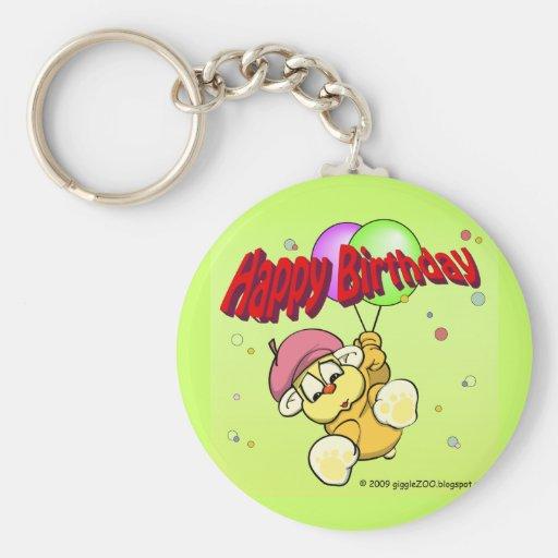 Feliz cumpleaños de giggleCubby Llavero Redondo Tipo Pin
