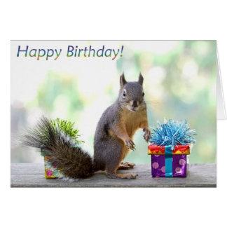 ¡Feliz cumpleaños de la ardilla! Tarjeton