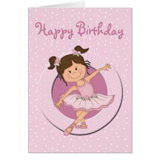 Feliz cumpleaños de la bailarina 2 rosados lindos tarjeta de felicitación
