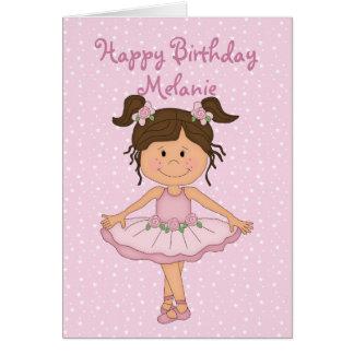Feliz cumpleaños de la bailarina 3 rosados lindos tarjeta de felicitación