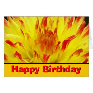 Feliz cumpleaños de la flor amarillo-naranja de Da Tarjetas