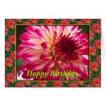 feliz cumpleaños de la flor rosada de Dalia Tarjeta De Felicitación