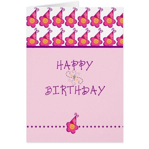 Feliz cumpleaños de la flor rosada tarjeta