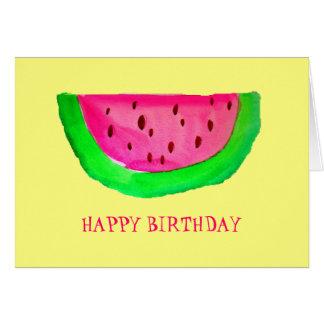 Feliz cumpleaños de la fruta rosada jugosa de la tarjeta de felicitación