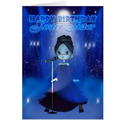 Feliz cumpleaños de la hermana adoptiva que canta tarjeta de felicitación