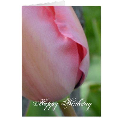 Feliz cumpleaños de la inspiración rosada tarjeta de felicitación