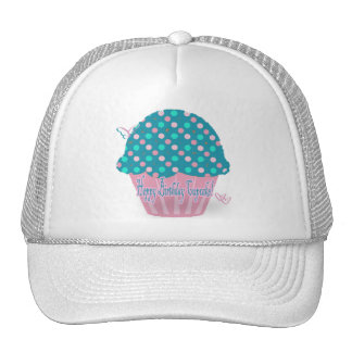 Feliz cumpleaños de la magdalena azul gorras de camionero