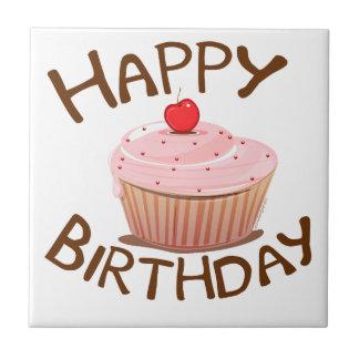 Feliz cumpleaños de la magdalena azulejo