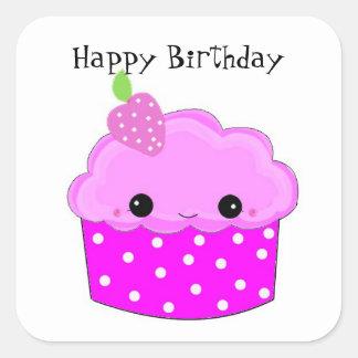 Feliz cumpleaños de la magdalena púrpura pegatina cuadrada