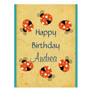 Feliz cumpleaños de la mariquita tarjeta postal