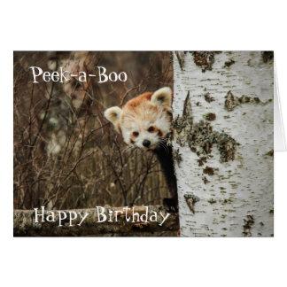 Feliz cumpleaños de la panda roja tarjeta de felicitación