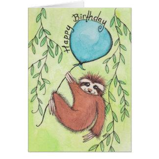 Feliz cumpleaños de la pereza linda tarjeta de felicitación
