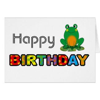 Feliz cumpleaños de la rana verde tarjeta de felicitación