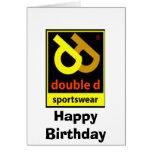 Feliz cumpleaños de la ropa de deportes doble de D Felicitación