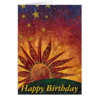 Feliz cumpleaños de la sol tarjeta de felicitación
