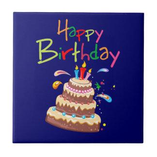 Feliz cumpleaños de la torta azulejo cuadrado pequeño