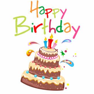 Feliz cumpleaños de la torta fotoescultura vertical