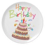 Feliz cumpleaños de la torta plato