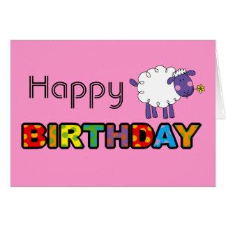 Feliz cumpleaños de las ovejas lindas tarjeta de felicitación
