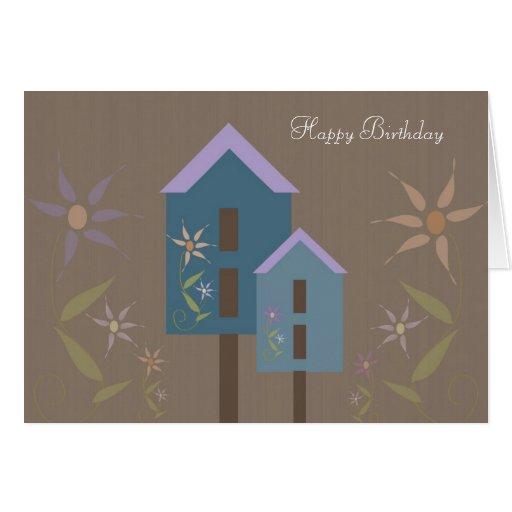 Feliz cumpleaños de los Birdhouses Tarjeta De Felicitación