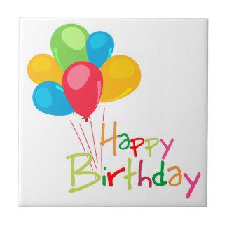 Feliz cumpleaños de los globos azulejo cuadrado pequeño