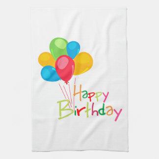 Feliz cumpleaños de los globos toallas de mano