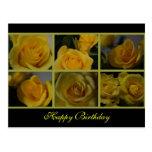 Feliz cumpleaños de los rosas amarillos tarjeta postal