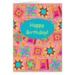 Feliz cumpleaños de remiendo del arte anaranjado tarjeton