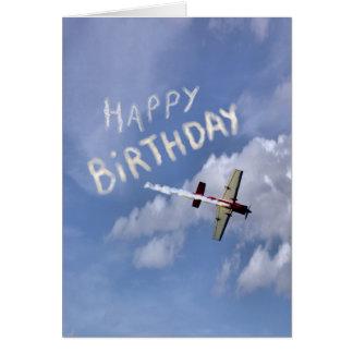 Feliz cumpleaños de Skywriting en las nubes Tarjeta Pequeña