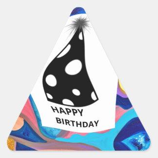 Feliz cumpleaños de Sun Pegatina Triangular