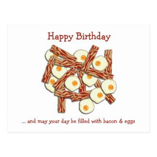 Feliz cumpleaños de tocino y de los huevos postal