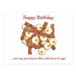 Feliz cumpleaños de tocino y de los huevos tarjetas postales