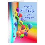 Feliz cumpleaños de todos - pared del globo tarjeton