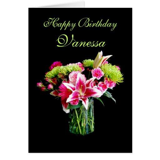 Feliz cumpleaños de Vanesa, ramo del lirio del Tarjeta De Felicitación