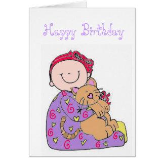 Feliz cumpleaños del bebé y del gato tarjeta de felicitación