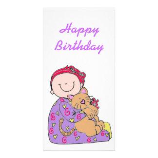 Feliz cumpleaños del bebé y del gato tarjeta personal con foto