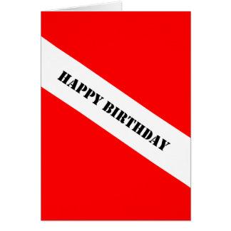 Feliz cumpleaños del buceo con escafandra tarjeta de felicitación