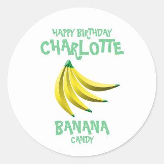 Feliz cumpleaños del caramelo amarillo del plátano pegatina redonda