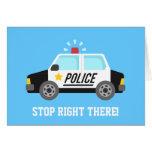 Feliz cumpleaños del coche patrulla divertido de tarjeta de felicitación