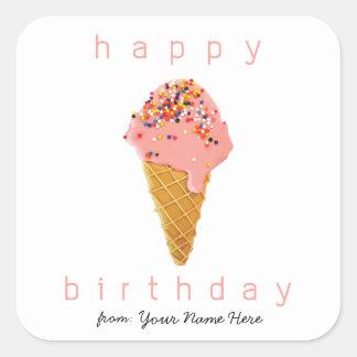 Feliz cumpleaños del cono de helado de encargo de pegatina cuadrada