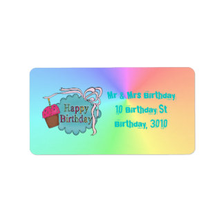 Feliz cumpleaños del cumpleaños etiqueta de dirección