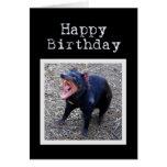 Feliz cumpleaños del diablo tasmano tarjeta