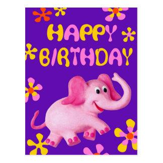 Feliz cumpleaños del elefante rosado postal