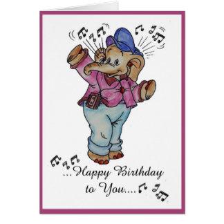 feliz cumpleaños del elefante tarjetón