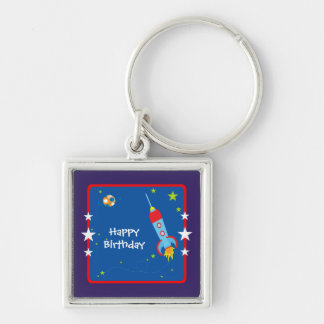Feliz cumpleaños del espacio exterior 1 llavero cuadrado plateado