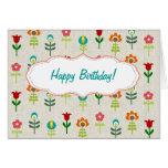 Feliz cumpleaños del estampado de plores popular r tarjeta