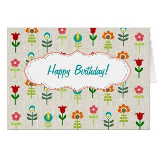 Feliz cumpleaños del estampado de plores popular r tarjeta de felicitación