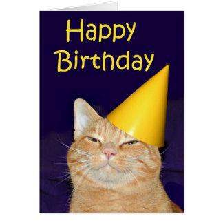 Feliz cumpleaños del gato feliz tarjeta de felicitación