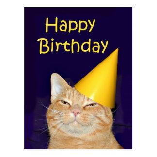 Feliz cumpleaños del gato feliz tarjetas postales